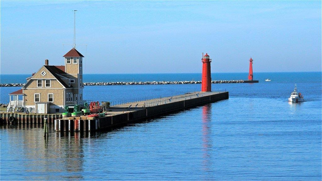 Muskegon Coast Guard Station on the Muskegon Channel